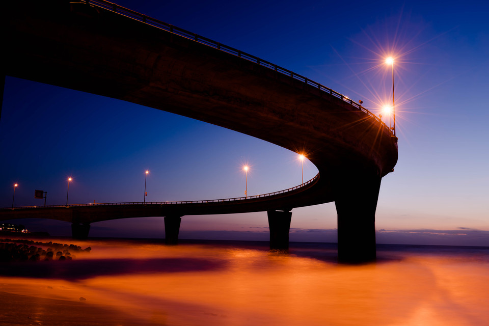 Dawn of coastal bridge
