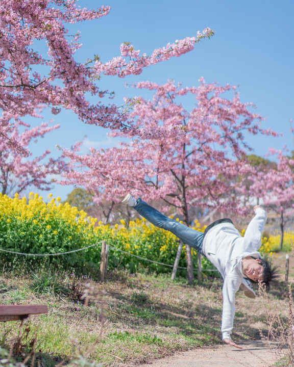 河津桜 -Tricking self-portrait-