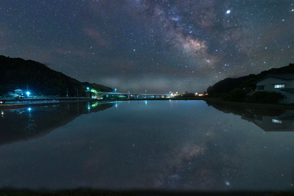 Milky Way reflected in the pond