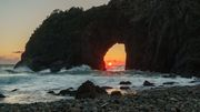 Sunset through the cave