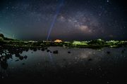 Laser beam with Milky way