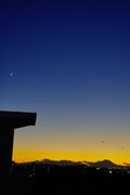 富士sunset,Crescent moon,Jupiter,Saturn