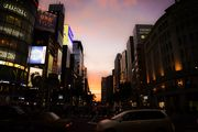 Sunset to burn the sky of Ginza